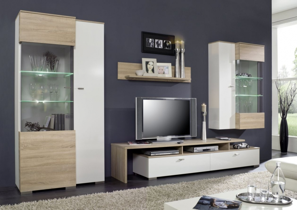 sultan wohnwand schrankwand anbauwand tv wand fernsehschrank wei eiche s gerau ebay. Black Bedroom Furniture Sets. Home Design Ideas